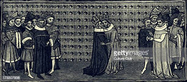 Meeting between Edward III and Philip of France 1331 From French drawing late 14th century E King of England from 1327 until his death 13 November...