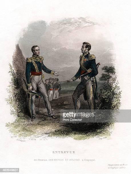 Meeting between Generals San Martin and Bolivar Guayaquil Ecuador South American revolutionaries Simon Bolivar and Jose de San Martin disagreed on...