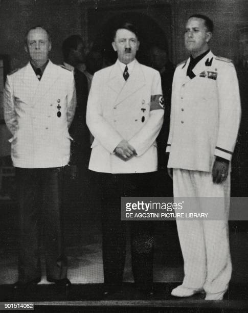 Meeting between Joachim von Ribbentrop Adolf Hitler and Galeazzo Ciano in Fuschl Austria from L'Illustrazione Italiana Year LXVI No 34 August 20 1939