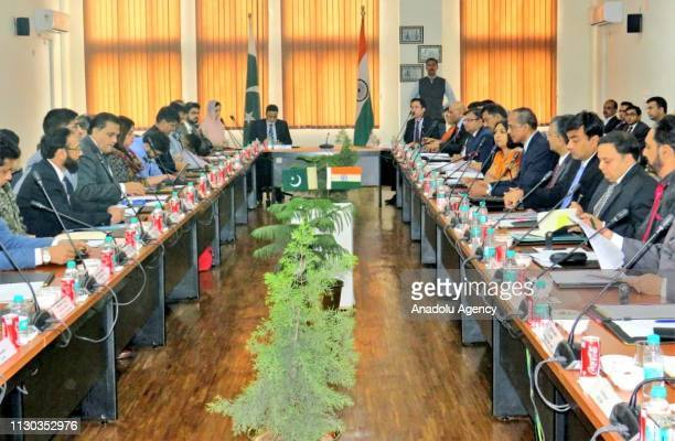 Meeting between the delegations of Pakistan and India held to discuss draft agreement of Kartarpur Corridor in Attari India on March 14 2019 First...