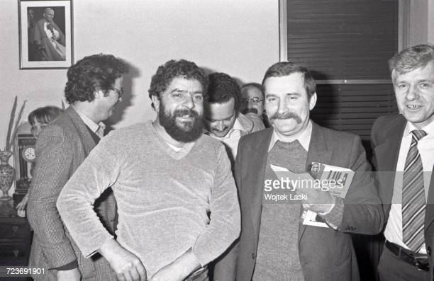 A meeting between the leaders of Polish and Brazilian trade unions Pictured Luiz Inacio Lula da Silva leader of the Workers' Party and Lech Walesa...