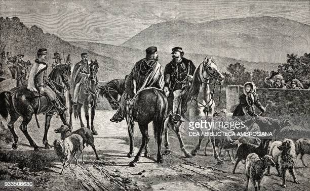 Meeting between Vittorio Emanuele II and Giuseppe Garibaldi, 26 October drawing by Borrani from a painting by Carlo Ademollo, engraving from...