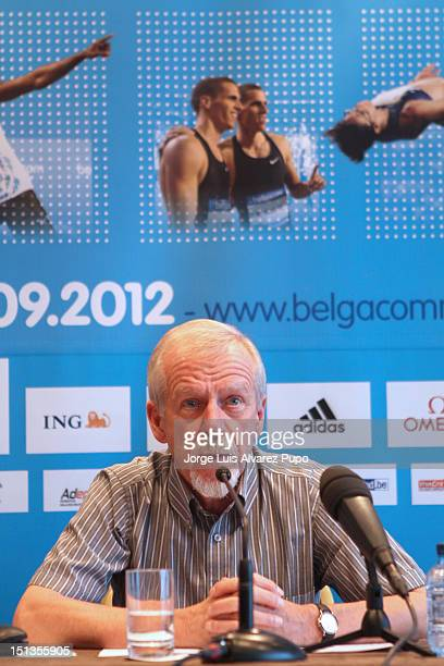 Meeting director Wilfried Meer talks during a press conference at press room of the Sheraton Brussels Hotel as part of the IAAF Golden League...