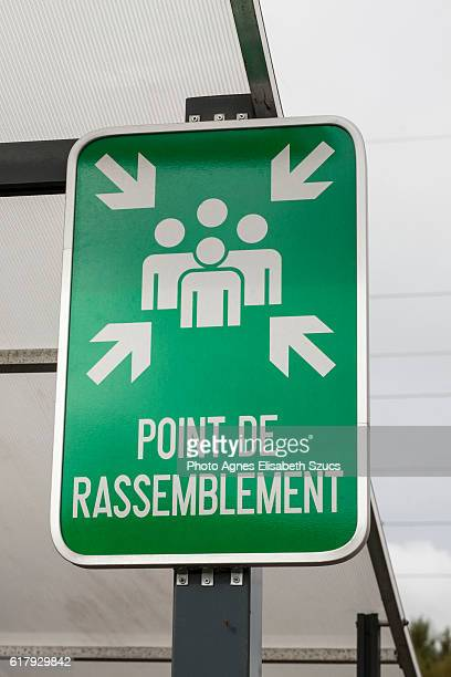 Meeting, evacuation or assembly point sign in France