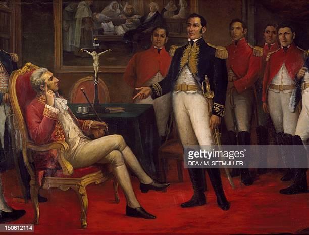 Meeting in 1821 between General Jose de San Martin and the Spanish Viceroy Jose de la Serna Peru 19th century