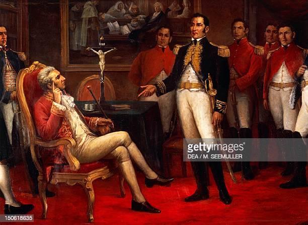 Meeting in 1821 between Jose de San Martin and Jose de la Serna the last Spanish viceroy in Peru Peru 19th century