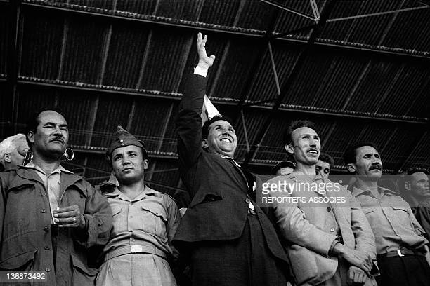 Meeting in a stadium with FLN leaders Kaid Ahmed Colonel Mohamed Chabani Ahmed Ben Bella Houari Boumediene and Ali Mendjeli on September 11 1962 in...