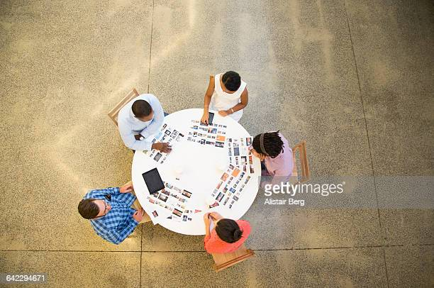 Meeting in an open plan office