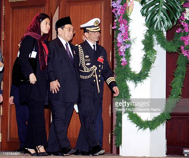 UNCTAD meeting in Bangkok Thailand on February 12 2000 Indonesian president Abdurrahman Wahid and his daughter