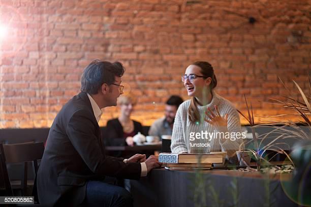 Meeting in coffee bar