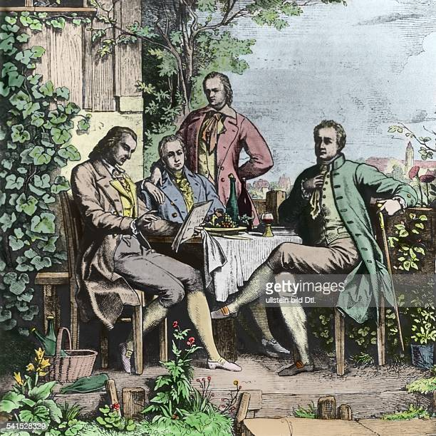 Meeting in Jena From left Friedrich Schiller Wilhelm and Alexander von Humboldt and Johann Wolfgang Goethe 1793Picture colored later based on a...