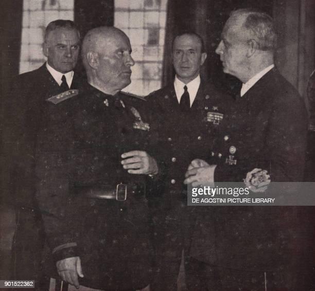 Meeting in Palazzo Venezia between Benito Mussolini and Joachim von Ribbentrop February 25 Rome Italy World War II from L'Illustrazione Italiana Year...