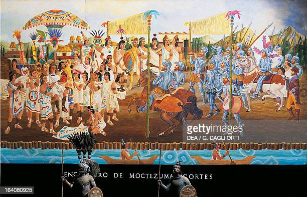 Meeting in Tenochtitlan between Hernan Cortes and Montezuma II November 8 Mexico Central America 16th century Mexico City Museo De La Ciudad De México