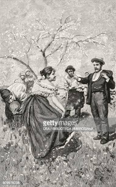 Meeting in the fields peasant men and women illustration by Arnaldo Ferraguti from the novella Pastor Jeli by Giovanni Verga from L'Illustrazione...