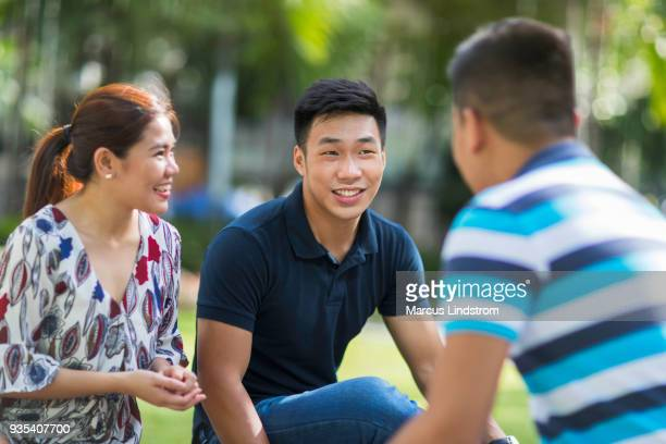 meeting in the park - philippines stock pictures, royalty-free photos & images