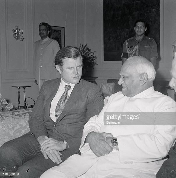 Meeting India'a President New Delhi Senator Edward M Kennedy on left pays courtesy call on India's president VVGiri August 14 in New Delhi As...