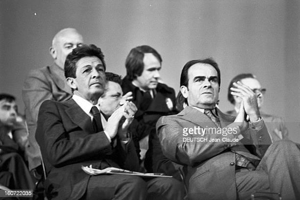 Meeting Marchais-berlinguer At The Porte De Pantin, Paris. A Paris, dans une salle de la Porte de Pantin, à l'occasion du meeting réunissant Georges...