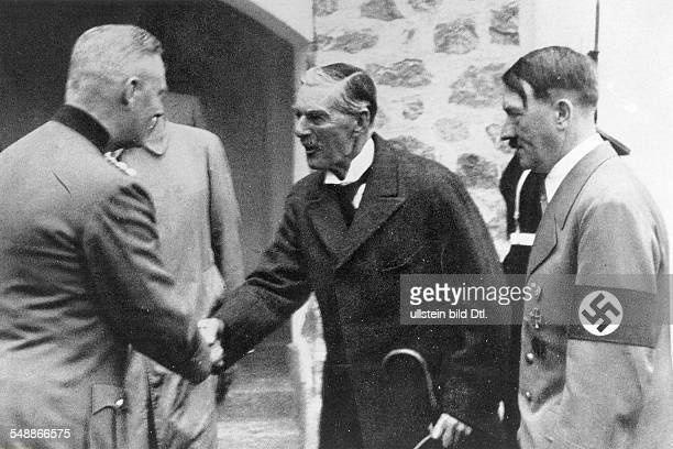 meeting of Adolf Hitler and Arthur Neville Chamberlain in Berchtesgaden Germany General Wilhelm Keitel chief of the Supreme Command of the...