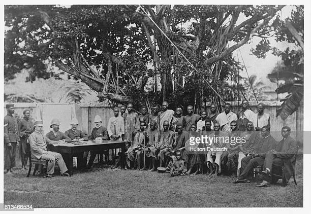 A meeting of colonial administrators with tribal messengers from the interior in Lagos Nigeria