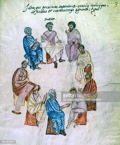 Meeting of geometers and land surveyors miniature from a Latin manuscript 9th century Città Del Vaticano Biblioteca Apostolica Vaticana