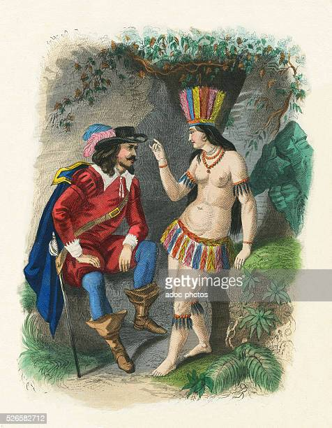 Meeting of Hernan Cortes with La Malinche also called Dona Marina Ca 1519 Engraving 19th century