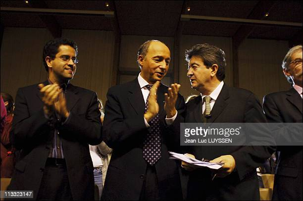 Meeting Of Laurent Fabius And Jean-Luc Melenchon In Viry-Chatillon - On November 3Rd, 2005 - In Viry Chatillon, France - Here, Laurent Fabius And...