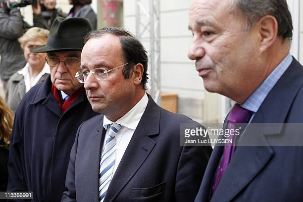 Meeting Of Liaison Committee At The Headquarters Of The Left Socialist Party With Francois Hollande Cecile Duflot JeanMichel Baylet JeanPierre...