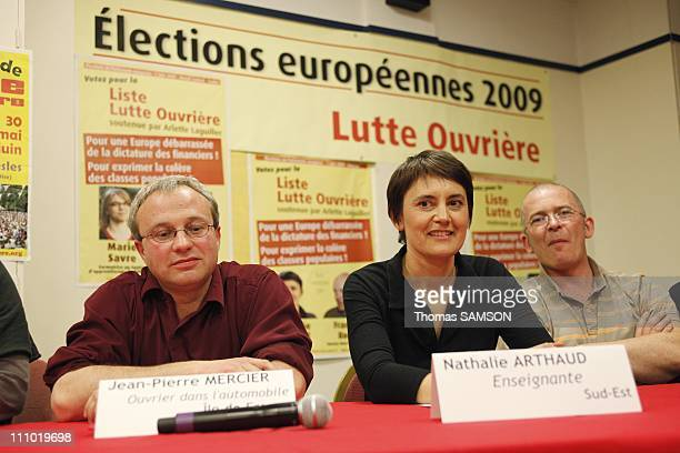 Meeting of Lutte Ouvriere with Nathalie Arthaud its Spokeswoman in Paris France on May 15th 2009 Nathalie Arthaud Spokeswoman of Lutte Ouvriere