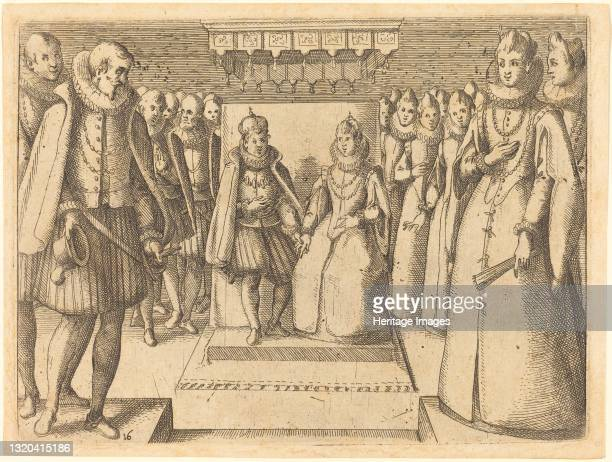 Meeting of Margaret of Austria and Philip III, 1612. Artist Jacques Callot.