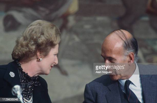 Meeting of Margaret Thatcher with Valéry Giscard d'Estaing at the Elysée.