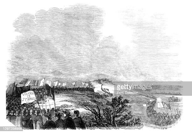 Meeting of pitmen, on Pittington Hill, 1844. Procession of miners in County Durham. 'An unfortunate difference at present exists between the pitmen...