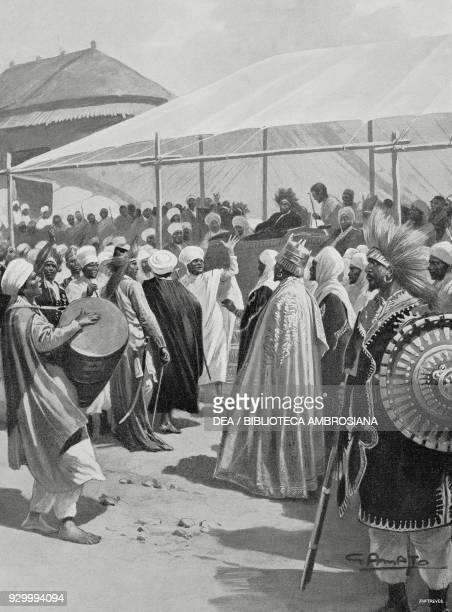 Meeting of Scioani leaders to dethrone the Empress Taitu wife of Menelik II Ethiopia drawing by Gennaro Amato from L'Illustrazione Italiana Year...