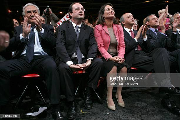 Meeting Of Socialist Party At Zenith For Legislative Campaign With Segolene Royal Francois Hollande Dominique StraussKahn And Laurent Fabius In Paris...