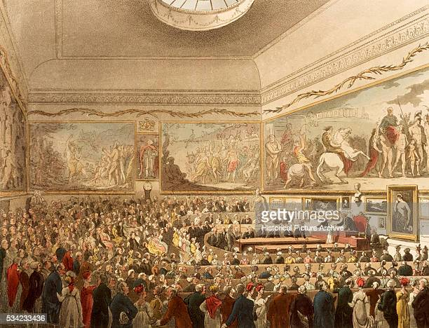Meeting of Society in London's Astoria 1809 by Thomas Rowlandson and Augustus Charles Pugin