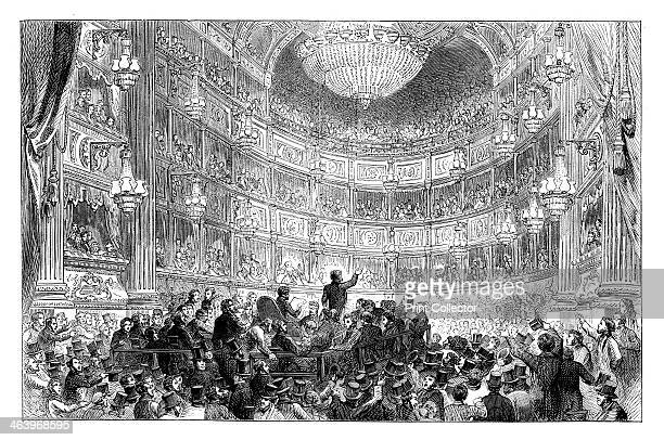 Meeting of the Anti-Corn Law League in Drury Lane Theatre, London, 1838 . From Cassell's Illustrated History of England', volume VII .