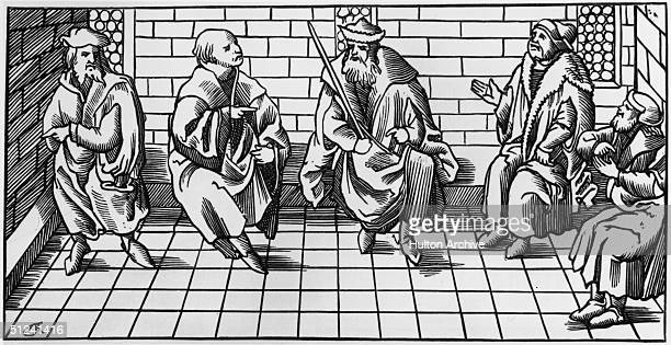 1552 A meeting of the bailiff's court Original Artwork A facsimile of a wood engraving by Lacroix from the 'Cosmographic Universelle'