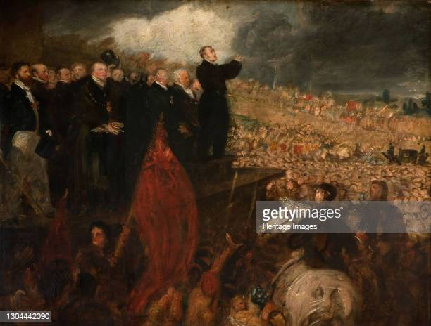 Meeting of the Birmingham Political Union, 1832-33. Painting depicts the meeting of the Unions on New Hall Hill, Birmingham May 7th, 1832. Artist...