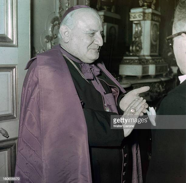 Meeting Of The Cardinal Angelo Giuseppe Roncalli With Georges Bidault And The President Vincent Auriol Paris Paris Années 1950 Portrait du cardinal...