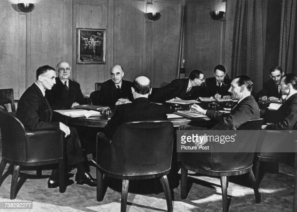 A meeting of the Control Board of the BBC London March 1941 Left to right Director General Frederick Ogilvie chhairman Allan Powell Stephen Tallents...
