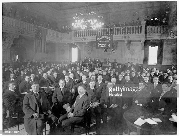 A meeting of the executive committee of soldiers and the workingmens' deputies of the Communist Party Russia ca 1917