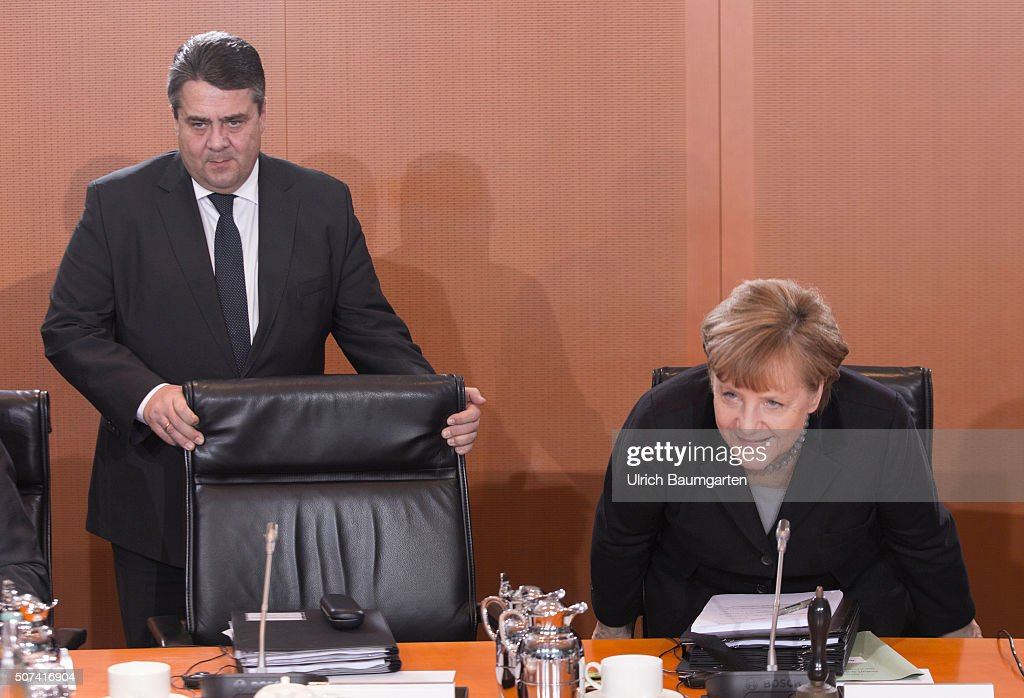 Meeting Of The Federal Cabinet In Berlin. Federal Chacellor Female Angela  Merkel (CDU,