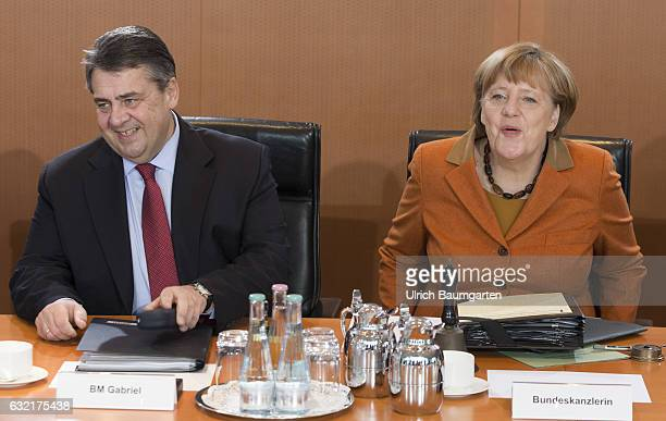 Meeting of the Federal Cabinet in the Federal Chancellery. Federal Chancellor female Angela Merkel and Sigmar Gabriel , Federal Minister of Economics...