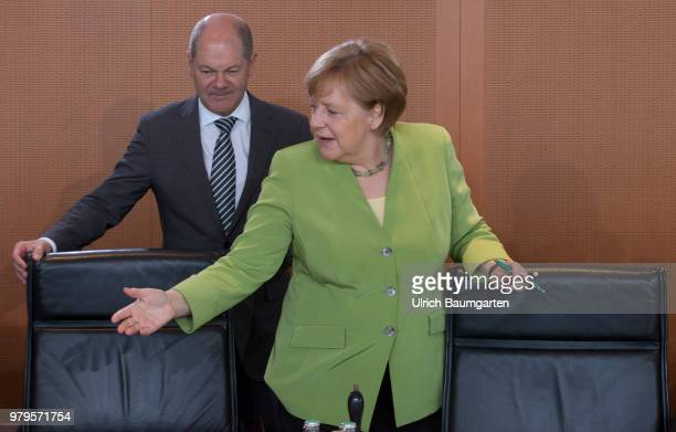 Meeting of the Federal Cabinet in the Federal Chancellery in Berlin Angela Merkel Federal Chacellor and Olaf Scholz Federal Minister of Justce at the...
