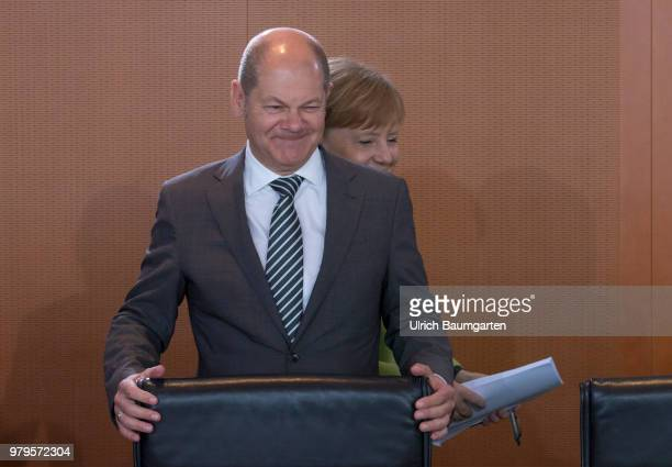 Meeting of the Federal Cabinet in the Federal Chancellery in Berlin Olaf Scholz Federal Minister of Justce at the Cabinet table