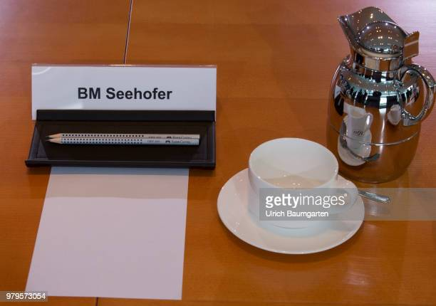 Meeting of the Federal Cabinet in the Federal Chancellery in Berlin The workplace of Minister of Interior Horst Seehofer at the Cabinet table