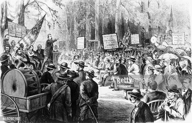 A meeting of the grangers in the woods near Winchester Illinois part of the farmer's labor movement in the West in 1873