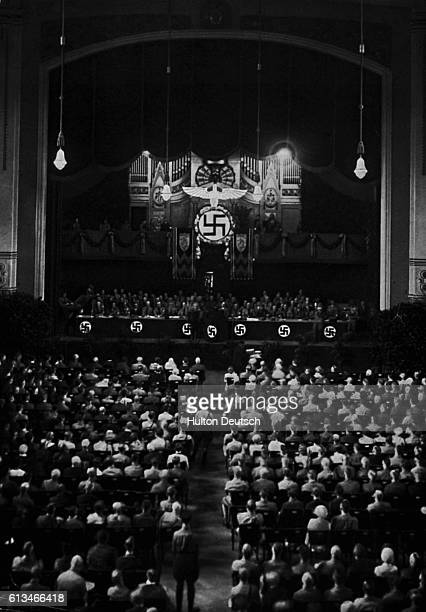 A meeting of the Nazi Party during the 4th Party Congress at the Kulturvereinhshaus Nuremberg Germany in 1929 The photo is taken from the 'History of...