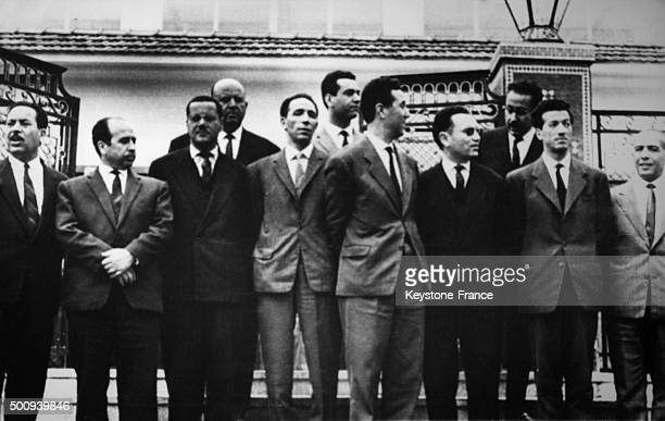 Meeting of the Provisional Government of the Algerian Republic with Ahmed Ben Bella surrounded by Sahab Dahlab Krim Belkacem Benyoucef Benkhedda...