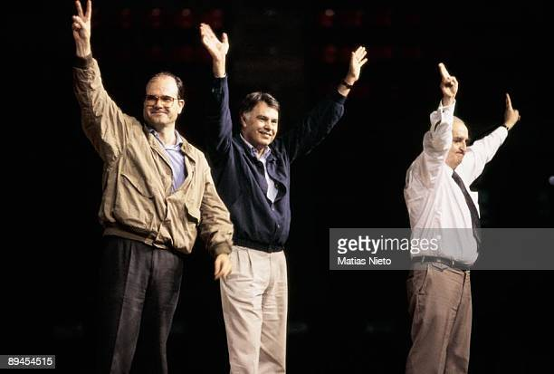 Meeting of the PSOE for the European and Andalusian elections Manuel Chaves next to Felipe Gonzalez and Fernando Moran raising their arms in sign of...
