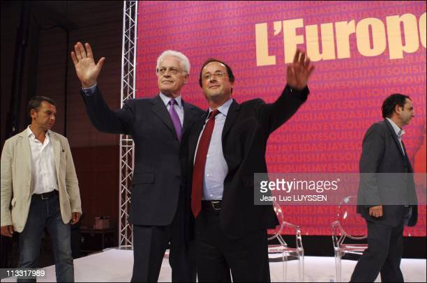 Meeting Of The Socialist Party For The Yes With Francois Hollande And Lionel Jospin On May 19Th 2005 In Nantes France From Left To Right Philippe...